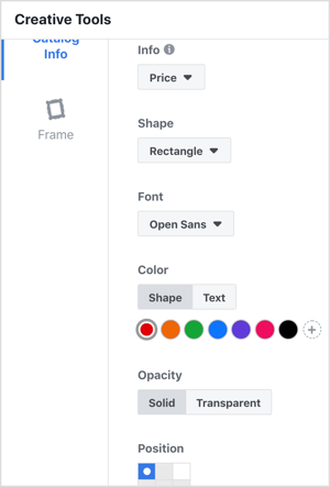 Facebook dynamic ads overlay customization options