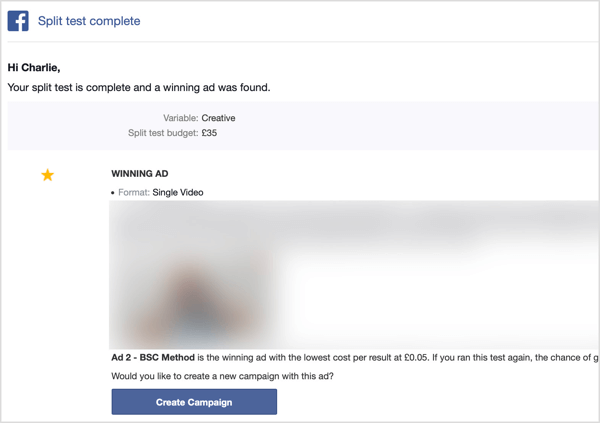 You receive an email after your Facebook split test is complete.