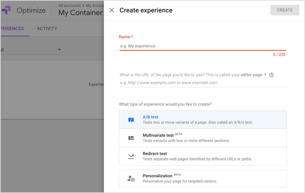Use the Google Optimize tool to test two or more versions of a web page.
