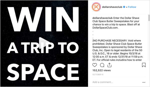 Instagram giveaway from Dollar Shave Club.