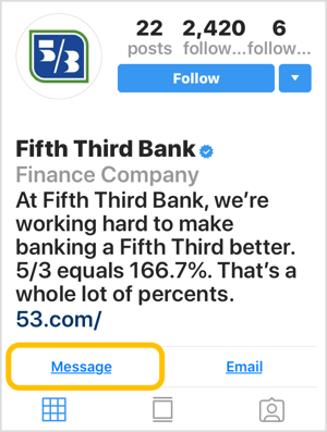 Instagram profile for bank with Message call-to-action button.