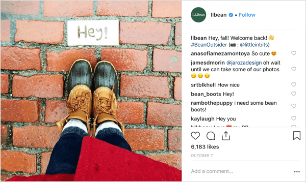 Fall weather, fashion, and filters from L.L. Bean's Instagram.