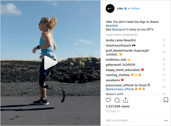 Nike Instagram post that promotes IGTV