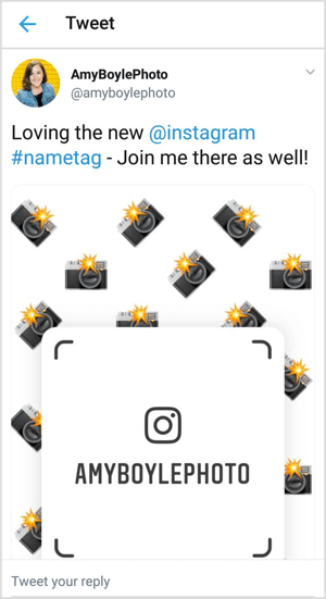 Cross-promote your Instagram nametag on social channels like Twitter.