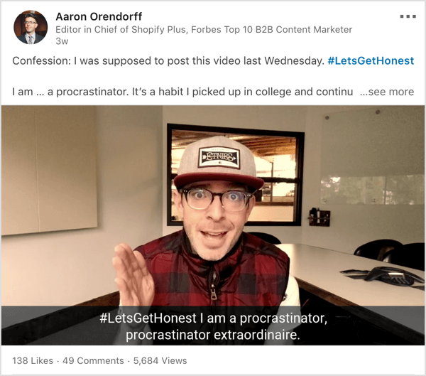 LinkedIn video based on #letsgethonest hashtag.