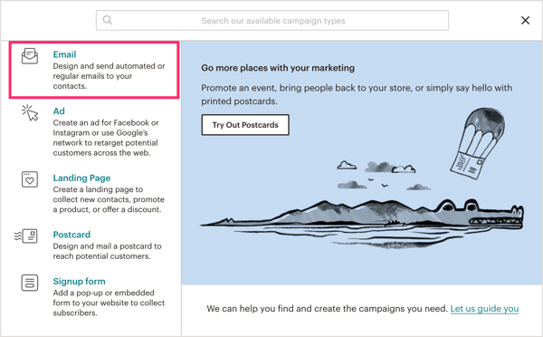 Select Email as the campaign type in Mailchimp.