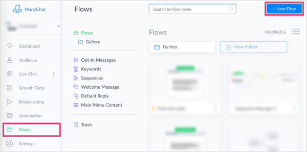 Click the New Flow button on the Flows tab in ManyChat.