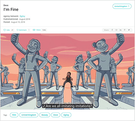 """This is a screenshot of a video ad by Dove called """"I'm Fine."""" In the animated clip, a young black girl stands with one foot on the top of the edge of a pillar and her other foot on top of another pillar. She's among rows of gray pillars, on which are gray statues of girls three times her size, holding up smartphones and taking selfies. The sky is pink and orange like a sunset. The video caption says """"Are we all imitating imitations."""" Talia Wolf says Dove is an example of a brand that uses emotion in its advertising."""