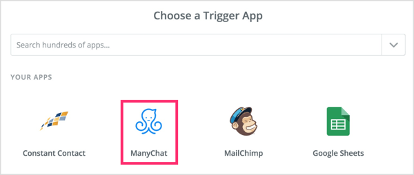 Choose a trigger app in Zapier.