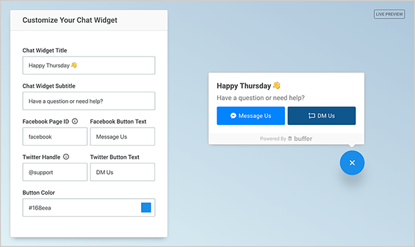 This is a screenshot of the Buffer SocialChat plugin preview available on its website. On the left is a form for customizing the chat widget. You can customize the title and subtitle, enter a Facebook page ID and button text, enter a Twitter handle and button text, and choose a button color. On the right, you see the how the selections in the form appear in the widget on a website.