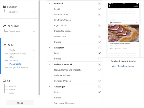 list of placement options for Facebook ad campaign