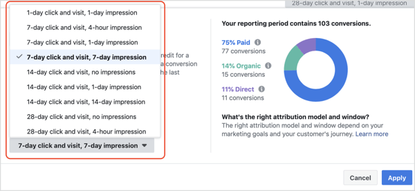 Attribution Window drop-down list in Facebook Attribution tool