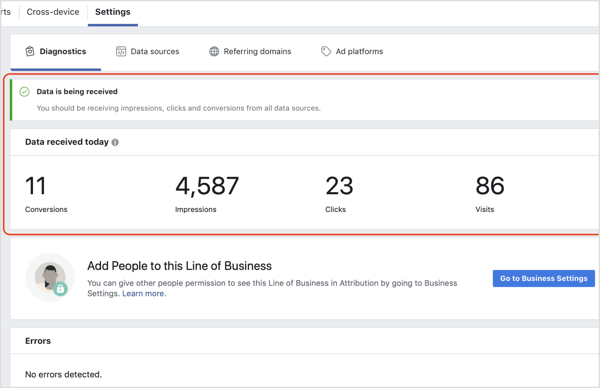 Check that you're receiving data in the Facebook Attribution tool.