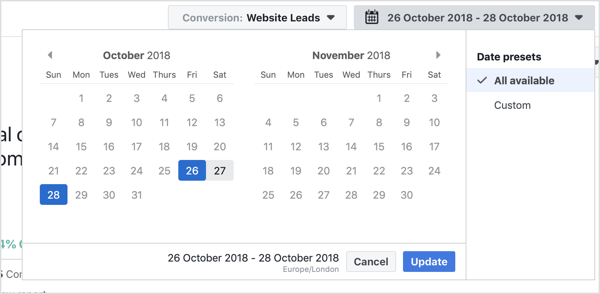 Choose the date range you want to view with the Facebook Attribution tool.