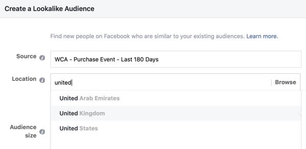 Instellingen om uw Facebook Lookalike-doelgroep te maken vanuit uw aangepaste doelgroep.