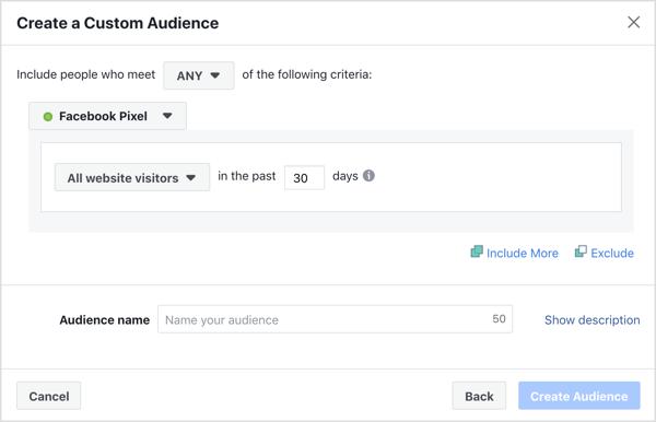 Erstellen Sie eine benutzerdefinierte Zielgruppe für die Ausrichtung Ihrer Facebook-Anzeigen.