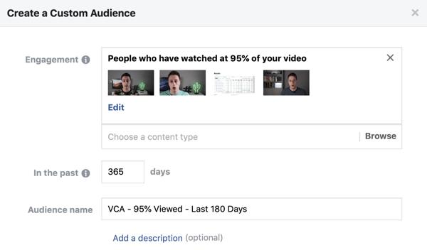 Opties instellen om een Facebook-aangepast publiek te maken van mensen die een video op Facebook of Instagram bekijken.