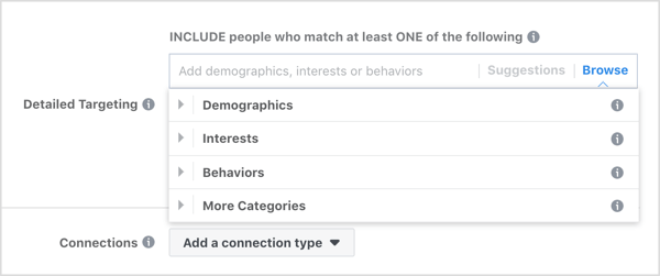 Browse the Detailed Targeting options for Facebook ads.
