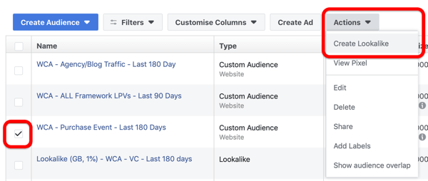 Optie om een Lookalike-publiek te maken op uw Facebook Audiences-dashboard.