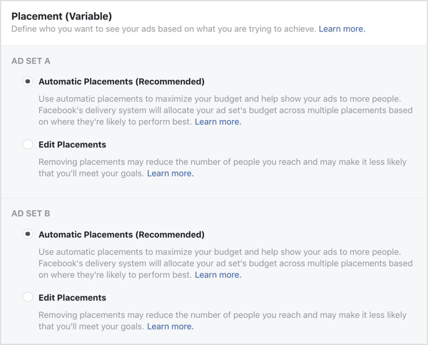 Ad Set A and Ad Set B for Facebook variable split test