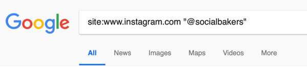 Example of a Google search to find mentions of