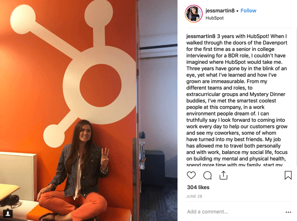 Example of a Hubspot employee's Instagram post, using the branded hashtag #hubspotlife.