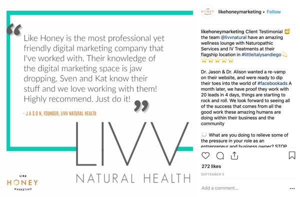 Example of a client story Instagram post by Like Honey Marketing.