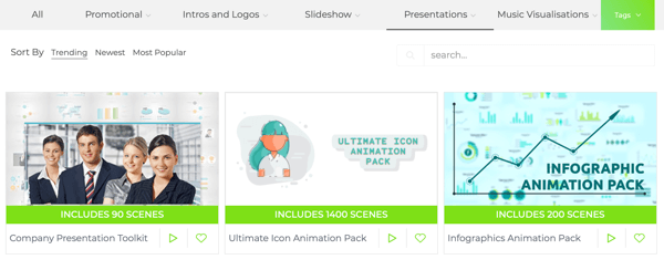 Examples of templates for your infographic video in Renderforest.