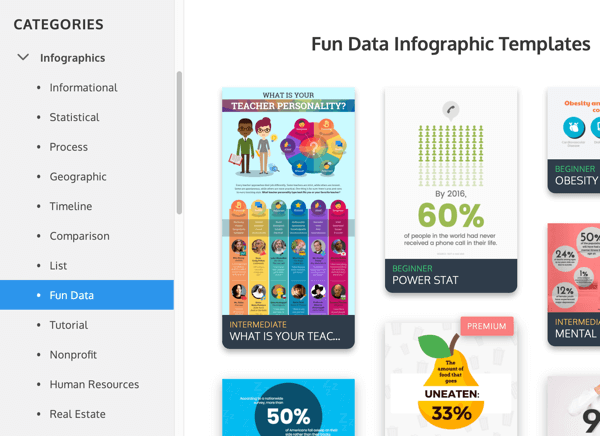 Examples of Venngage infographic categories under Fun Data.
