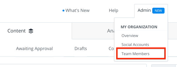 Option to add a new team member to your Buffer account.