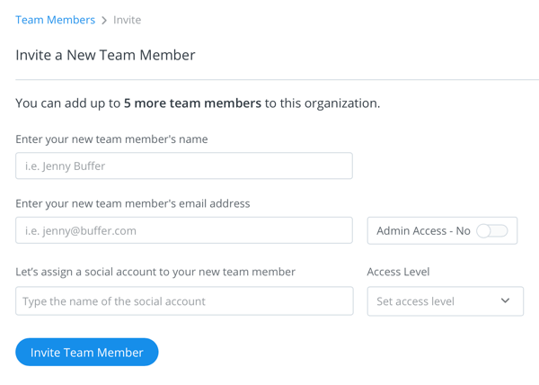Details screen to invite and set access levels for your Buffer team Member.