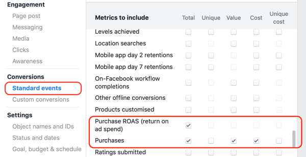 Example of desired core metrics for the standard event actions of the reporting creation window in Facebook Ads Manager.