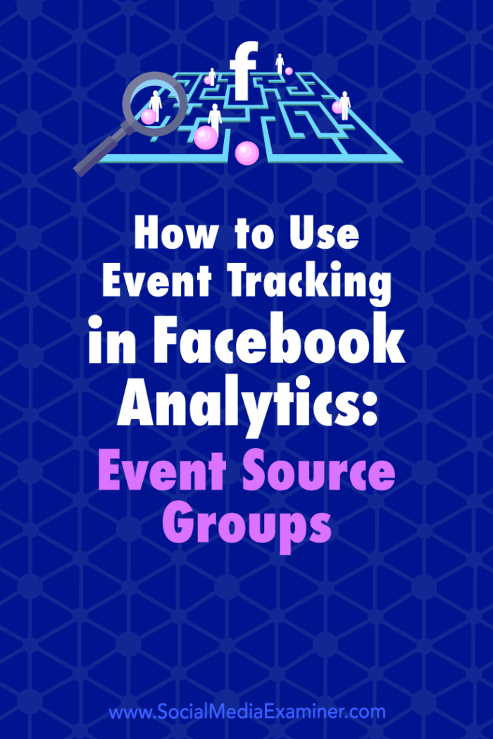 Learn how to set up event tracking and use event source groups in Facebook Analytics to analyze customer behaviors.