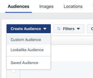 Option to create a Custom Audience, a Lookalike Audience, or Saved Audience in Facebook.