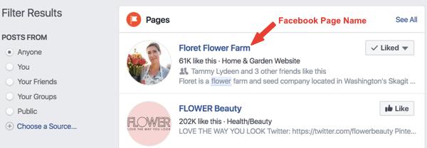 Voorbeeld van de Facebook-pagina Floret Flower Farm in de zoekresultaten.
