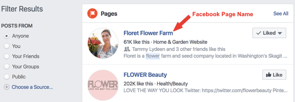 Example of the Facebook page named Floret Flower Farm in search results.