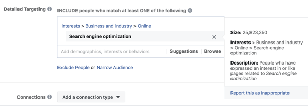 Example of standard facebook targeting for the interest Search Engine Optimization resulting in an audience that is too large, at 25 million.