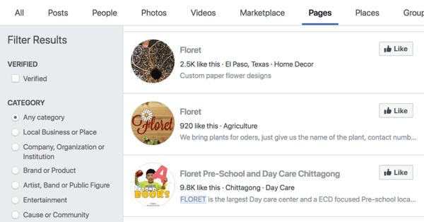 Facebook-pagina's zoekresultaten voor Floret.