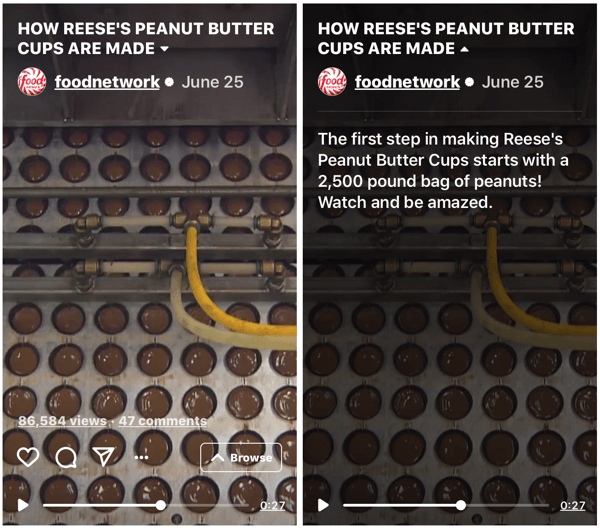 Example of Food Network's IGTV show demonstrating how Reese's Peanut Butter Cups are made.