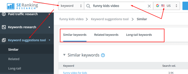 Options to set keyword and target region for the Keyword Suggestions Tool by SE Ranking.