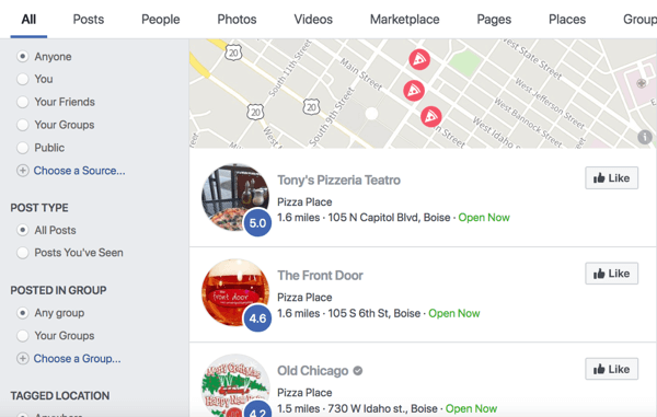Facebook search result for pizza.