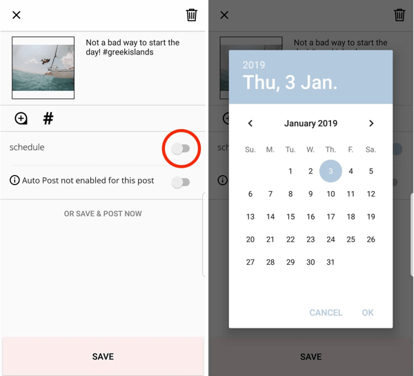 To schedule your post through Planoly, tap the option to schedule, and select a date and time.