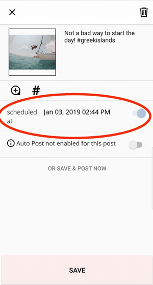 A scheduled post in Planoly will have a date and time shown.