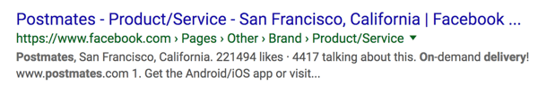 Postmates facebook page as a Google search result.