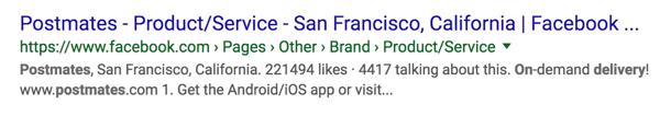 Postmates Facebook-pagina als zoekresultaat van Google.