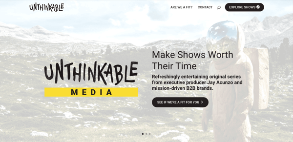Screenshot of the Unithinkable website.