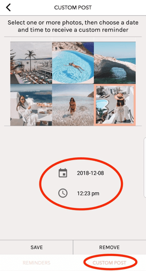 Tap Custom Post in UNUM, and then select the day and time you want to post it to your feed.
