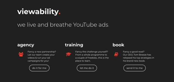 Screenshot of the website for Viewability, a YouTube ads agency.