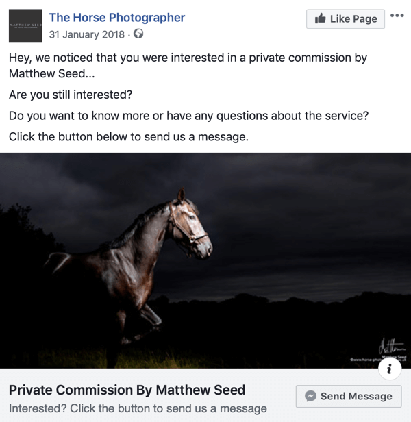 Hoe websitebezoekers te converteren met Facebook Messenger-advertenties, stap 3, per post door The Horse Photographer