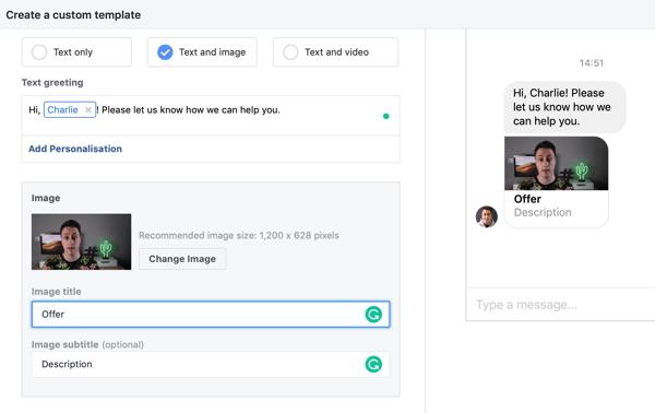 Hoe u warme leads kunt targeten met Facebook Messenger-advertenties, stap 11, voorbeeld van een kopie van de aangepaste kopie van de messengerbestemming